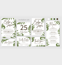 wedding invitations set floral invitations vector image
