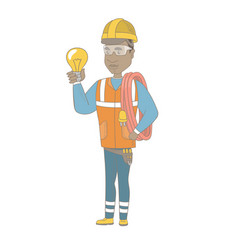 young african electrician holding a lightbulb vector image