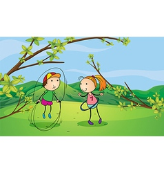 A boy and a girl playing in the hills vector image