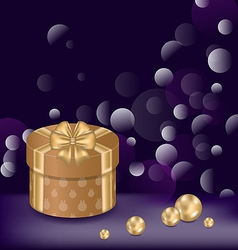 Christmas background with gift box and pearls vector image