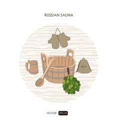 Sauna set Sauna logo on a white background vector image vector image