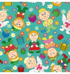 Seamless background kids with gifts and hearts vector image vector image
