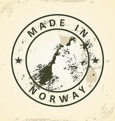 Stamp with map of Norway vector image