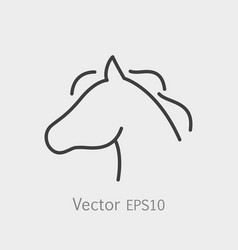 thin line horse head icon vector image vector image