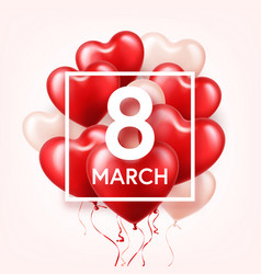 Women s day red background with balloons heart vector
