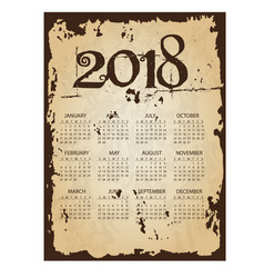 2018 simple business wall calendar with torn old vector image