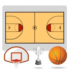 Basketball field ball vector