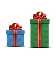 Gift boxes with a bow vector image vector image