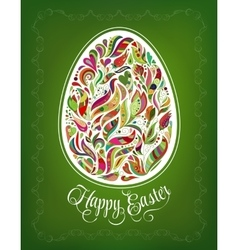 Happy Easter Card Doodle ornate colorful floral vector image vector image