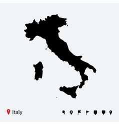 High detailed map of Italy with navigation pins vector image