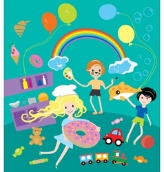 Kids party with toys and food festival vector