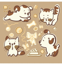 Puppies and kittens vector image vector image