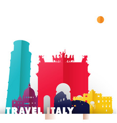 travel italy country paper cut world monuments vector image vector image