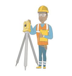 african surveyor builder working with theodolite vector image
