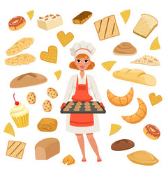 beautiful woman baker standing with a baking tray vector image