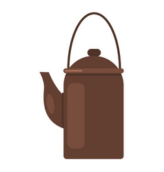 camp teapot icon flat style vector image vector image