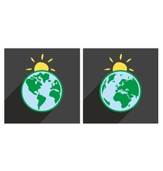 Earth with sun icon with green planet vector image vector image