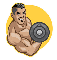 fitness men lifts barbell vector image vector image