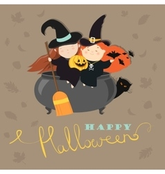 Funny witches with pot vector image vector image