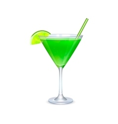 Martini glass with green cocktail vector image vector image