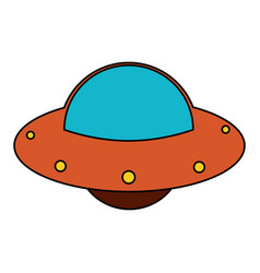 ufo spaceship fly image vector image