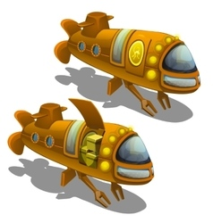 Yellow submarine cargo isolated vector image vector image