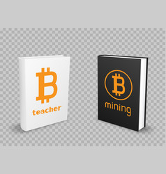 bitcoin black and white standing books vector image vector image