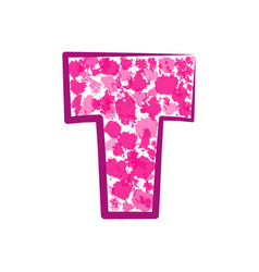 english pink letter t on a white background vector image