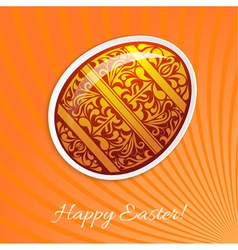 Orange background with a paper easter egg and rays vector