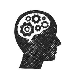 sketch head brain gear business man vector image vector image