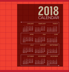 2018 red modern grid printable calendar vector image