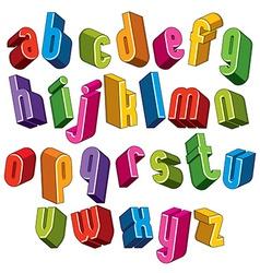 3d font colorful letters geometric dimensional vector image