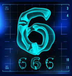 6 number six roentgen x-ray font light vector image