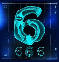 6 number six roentgen x-ray font light vector