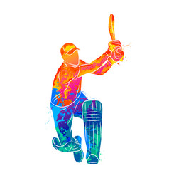 abstract batsman playing cricket from splash of vector image