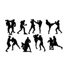 Activities silhouette sports wrestling and boxing vector
