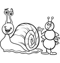 Ant and snail coloring page vector