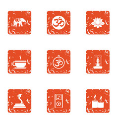 Asian condition icons set grunge style vector