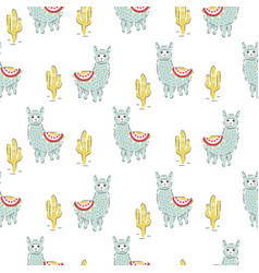 Baby lama seamless pattern vector