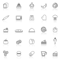 Bakery line icons with reflect on white background vector image