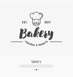 Bakery logo with thin line icon vector