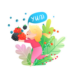bakid girl and berries running holding vector image
