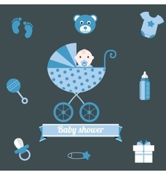 Bashower icons set boy blue vector