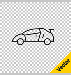 black line sport racing car icon isolated on vector image