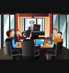Business people on a video conference vector