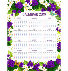 Calendar 2019 floral crocus flowers design vector