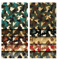 Camouflage clothing seamless patterns set vector