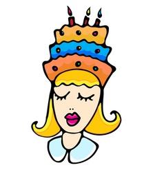 Cartoon girl with cake vector