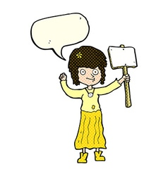Cartoon hippie girl with protest sign with speech vector