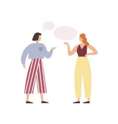 Cartoon woman friend talking with speech bubbles vector